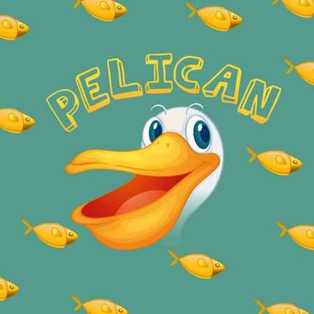 pelican: Pelican face and fish illustration Illustration