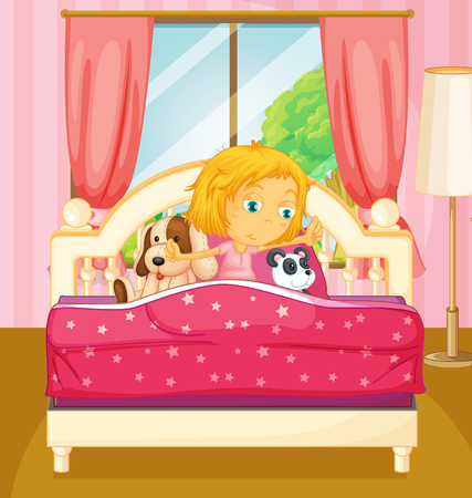 wake up happy: Girl in bed getting up  illustration