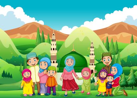 niña: Familia musulmana en la ilustración de la mezquita Vectores