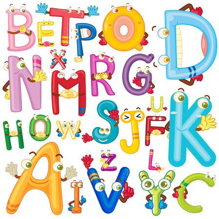 Angielski alfabet z twarzy ilustracji