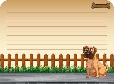 puppy: Line paper design with dog on the road illustration Illustration
