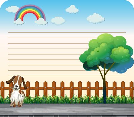 Line paper design with dog on the sidewalk illustration Illustration