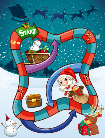 religious celebration: Game template with Santa and presents illustration