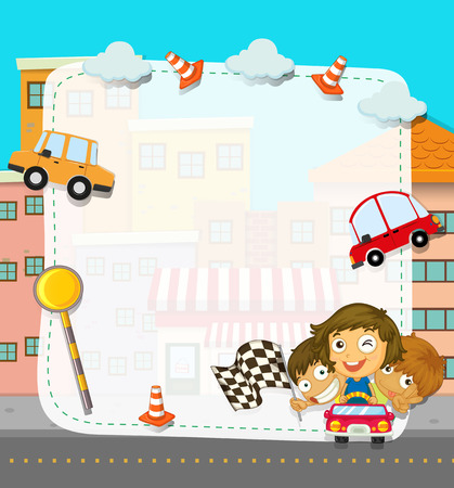 cartoon board: Border design with children and traffic illustration