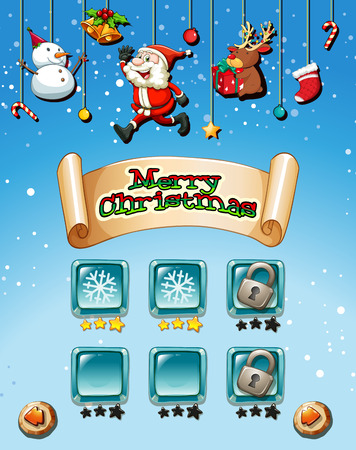 children clothing: Merry Christmas on game template illustration