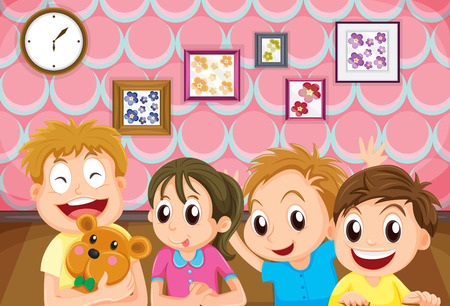 sibling: Children with happy face in the room illustration