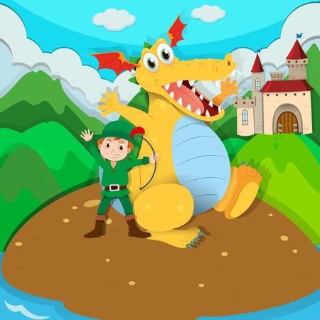fictional character: Hunter and yellow dragon on island illustration Illustration