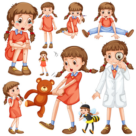 Chica en diferentes posiciones de la ilustración