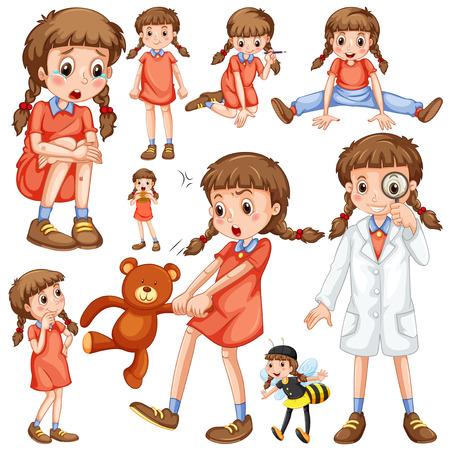 niños tristes: Chica en diferentes posiciones de la ilustración Vectores