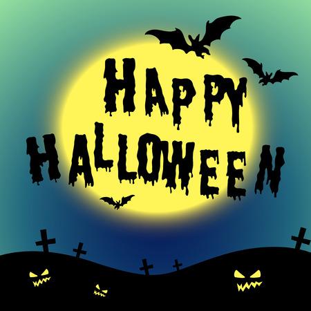night art: Halloween theme with bats and graveyard illustration