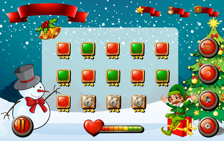 religious celebration: Game template with christmas theme illustration Illustration
