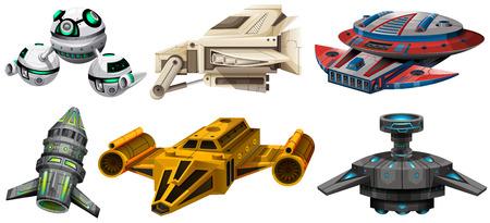 Différent conception de vaisseaux spatiaux illustration Vecteurs