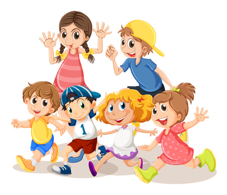 Children with happy face illustration
