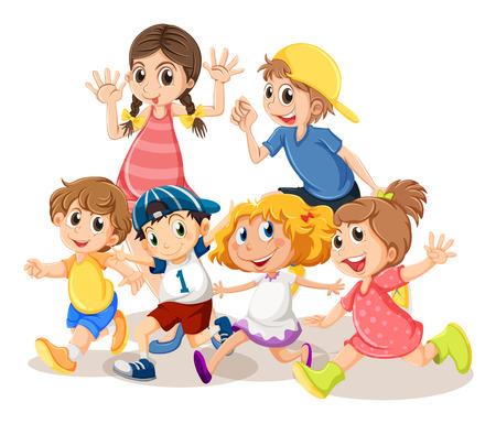 Los niños con la cara feliz ilustración Foto de archivo - 50161769