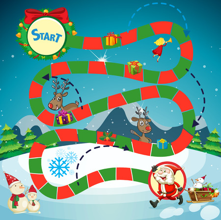 religious celebration: Game template with Santa and reindeers illustration