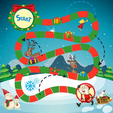 Game template with Santa and reindeers illustration Vektorové ilustrace