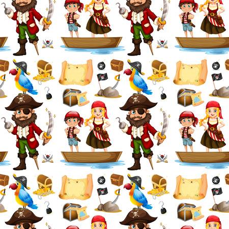 pirate ship: Seamless pirate and treassure illustration Illustration