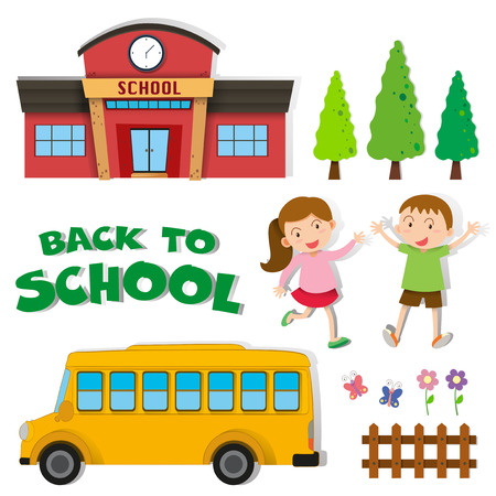 schoolbus: Back to school with children and school illustration Illustration