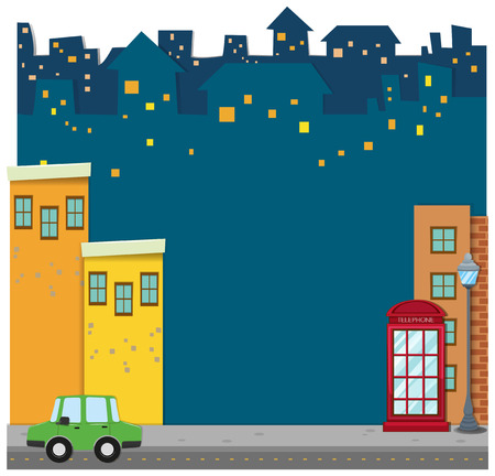 residential neighborhood: Buildings and car on the road illustration Illustration