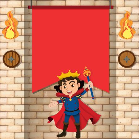 brickwall: King and brickwall background illustration