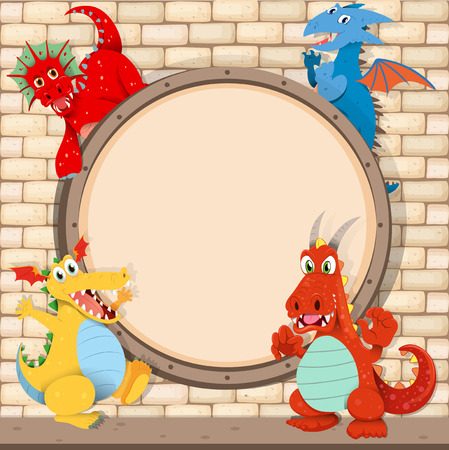 fantacy: Border design with dragons on brick wall illustration Illustration