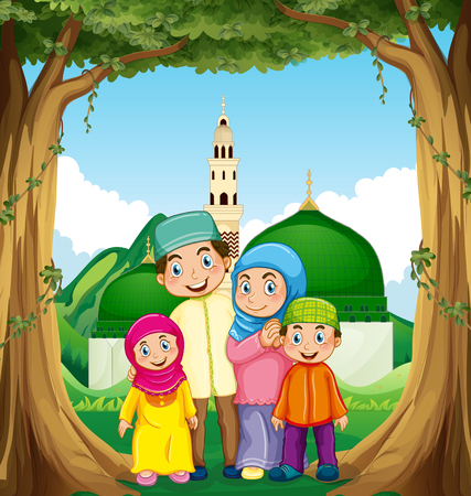 mosque illustration: Muslim family at the mosque illustration
