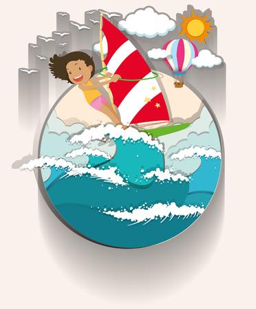 windsurf: Girl windsurfing in the sea illustration