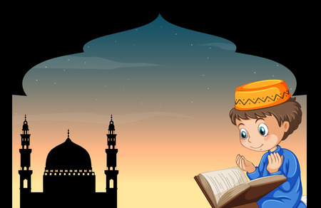 islam: Muslim boy praying with mosque background illustration