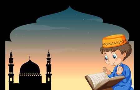 Muslim boy praying with mosque background illustration