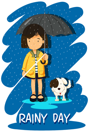 raining background: Girl and puppy in the rain illustration
