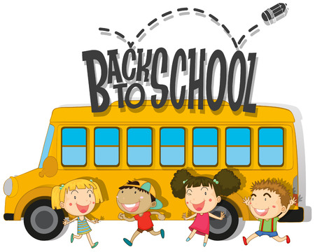schoolbus: Back to school with children and schoolbus illustration Illustration