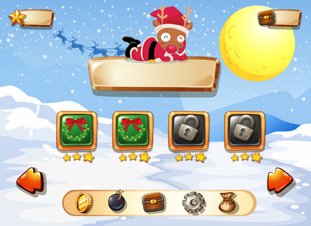 computer game: Computer game template with snow and reindeer illustration Illustration