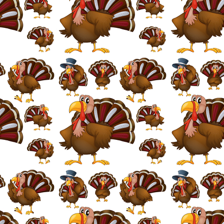 tropical background: Seamless turkey with hat illustration