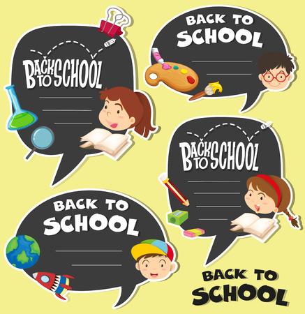 niños con pancarta: Volver a la escuela signo con ilustración infantil