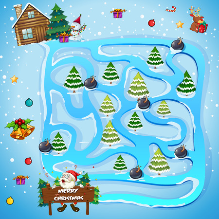Game template with christmas trees illustration