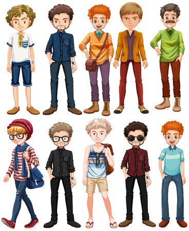 outfit: Men in different outfit illustration