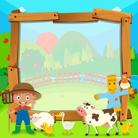 apple border: Border design with farmer and animals illustration Illustration