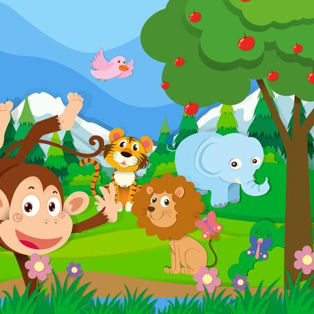 arbol de manzanas: Animales salvajes en la selva ilustraci�n Vectores