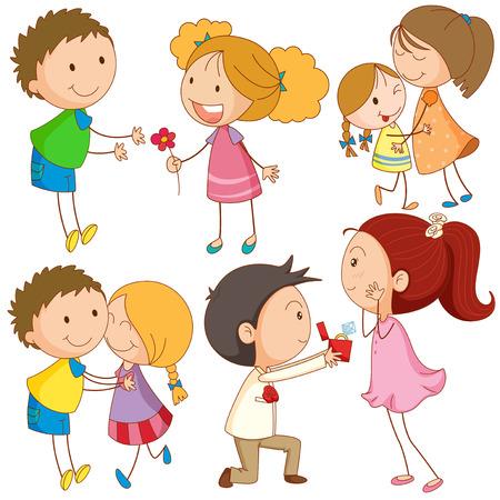 innamorati che si baciano: La gente di abbracciare e baciare illustrazione