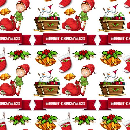 christmas sock: Seamless christmas elf and gift illustration Illustration