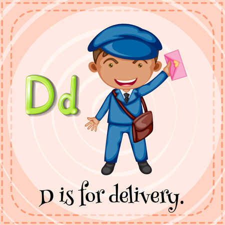 writing letter: Flashcard letter D is for delivery illustration