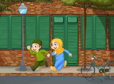 relationships human: Muslim boy and girl running illustration