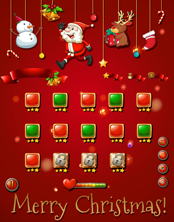 religious celebration: Game template with christmast objects illustration