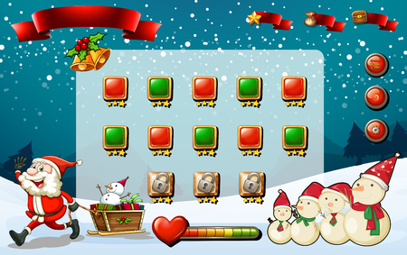 religious celebration: Game template with Santa and snowman illustration