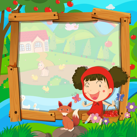 apple border: Border design with girl and wolf illustration