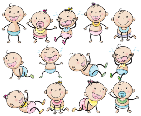 crawling: Baby boys and girls in many posts illustration Illustration