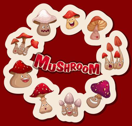 facial   expression: Fresh mushrooms with facial expression illustration