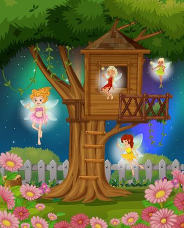 Hadas que vuelan en la ilustración jardín
