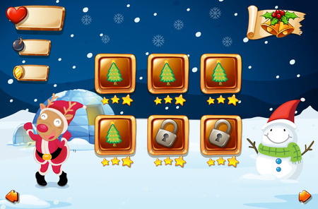 religious celebration: Game template with reindeer and snowman illustration Illustration