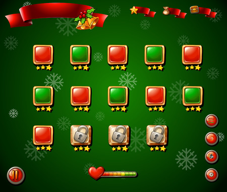 religious celebration: Game template with christmas theme in green illustration Illustration
